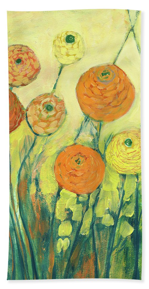 Zinnia Beach Towel featuring the painting Sunrise In Bloom by Jennifer Lommers
