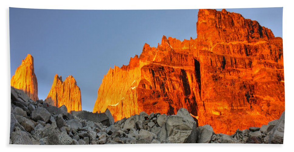 Torres Del Paine Beach Towel featuring the photograph Sunrise In Torres Del Paine by Julian Regan