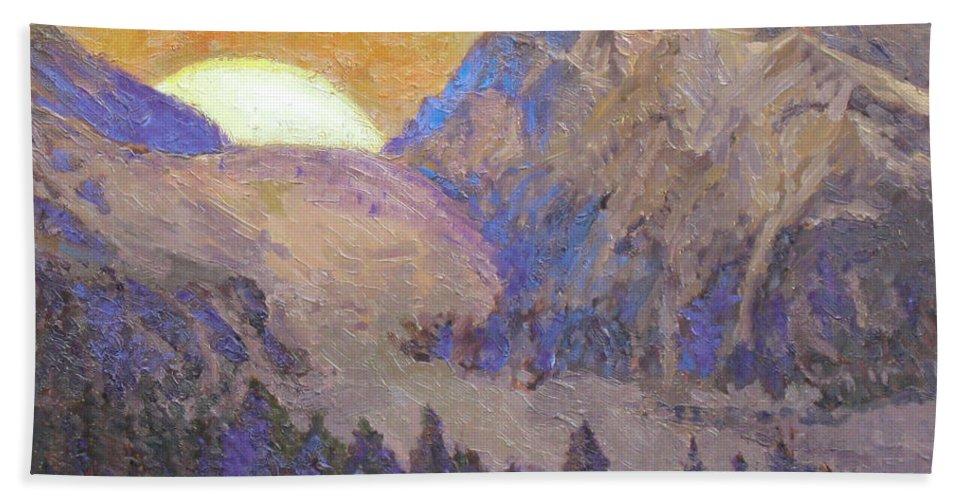 Sunrise Beach Towel featuring the painting Sunrise by Meihua Lu