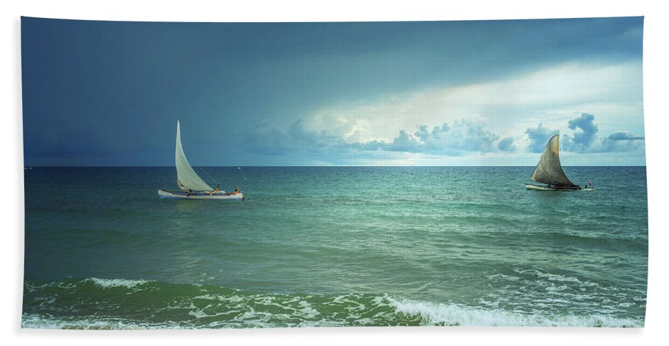 Sun Beach Towel featuring the photograph Sunrise On Indian Ocean by Louloua Asgaraly