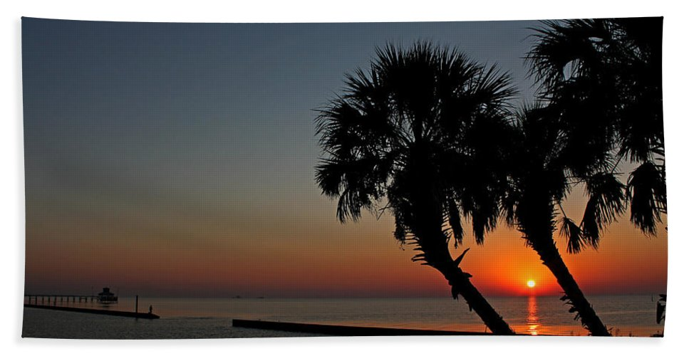Sunrise Beach Towel featuring the photograph Sunrise On Pleasure Island by Judy Vincent