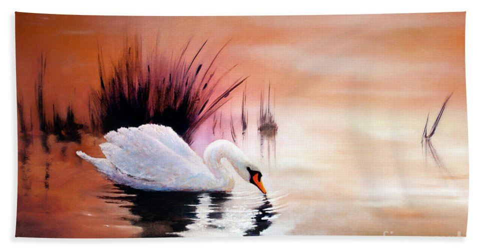 Sunrise On Swan Natural Beach Towel featuring the painting Sunrise On Swan Lake by Michael Rock