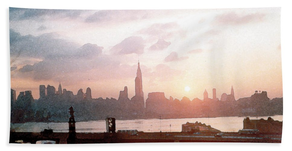 City Beach Towel featuring the painting Sunrise Over Nyc by Paul Sachtleben