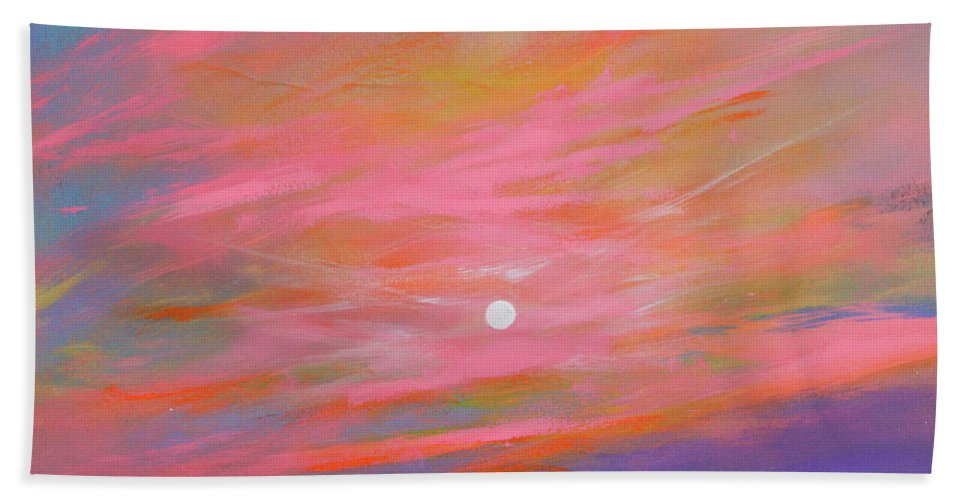 Sunrise Beach Towel featuring the painting Sunrise Sail by Toni Grote