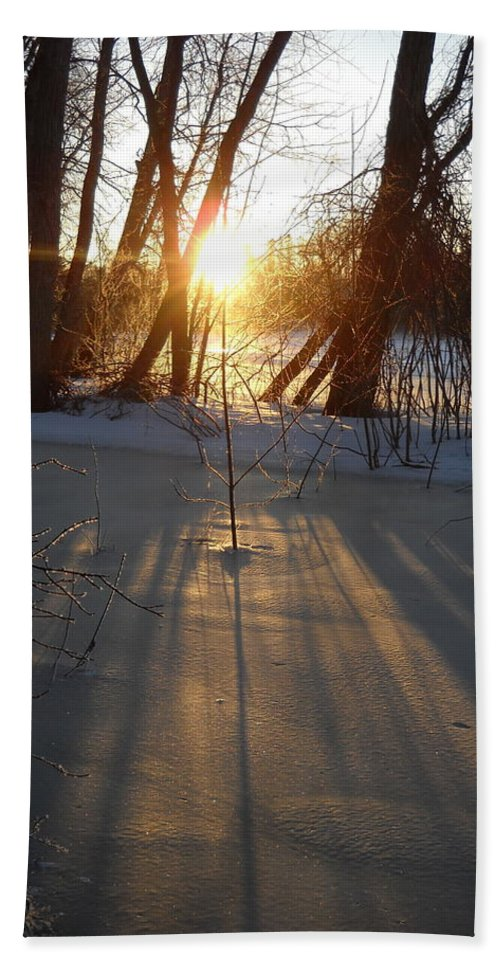 Sunrise Beach Towel featuring the photograph Sunrise Shadows On Ice by Kent Lorentzen