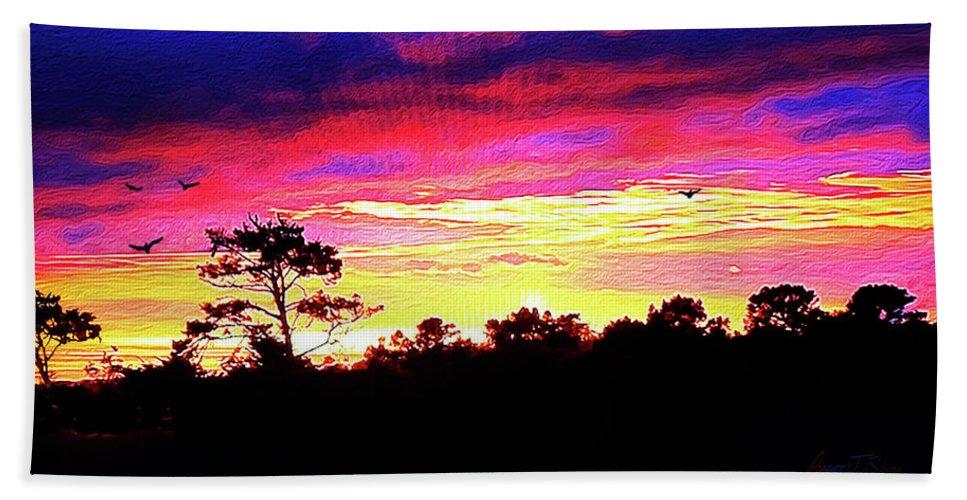 Beach Towel featuring the digital art Sunrise Sunset Delight Or Warning by Robert J Sadler