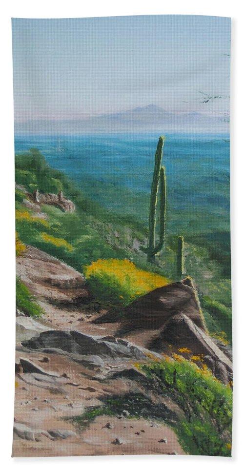 Landscape Beach Sheet featuring the painting Sunrise Trail by Lea Novak