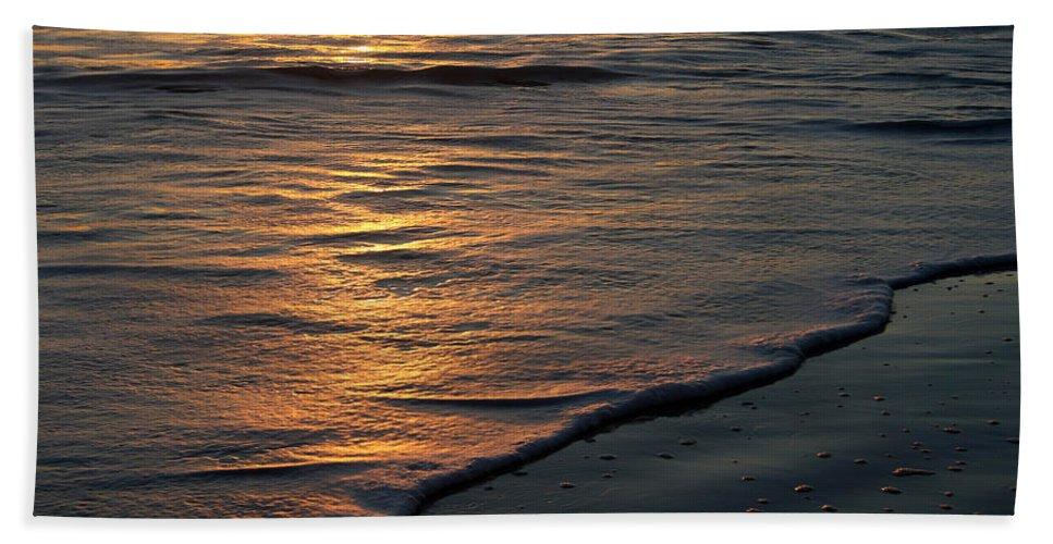 Ocean Beach Sun Sunrise Reflection Wave Tide Bright Orange Gold Water Vacation Beach Sheet featuring the photograph Sunrise Waves by Andrei Shliakhau