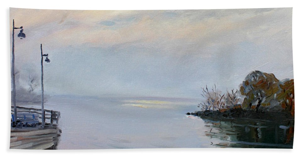 Seascape Beach Towel featuring the painting Sunrise by Ylli Haruni
