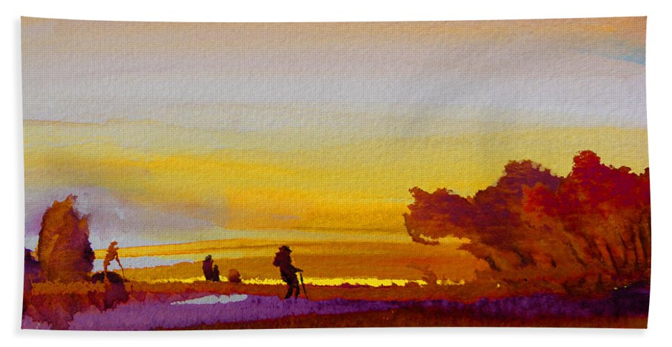 Watercolour Beach Towel featuring the painting Sunset 07 by Miki De Goodaboom