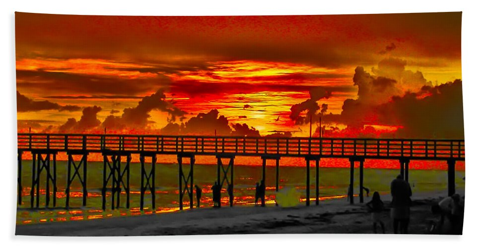 St. Petersburg Beach Towel featuring the photograph Sunset 4th Of July by Bill Cannon