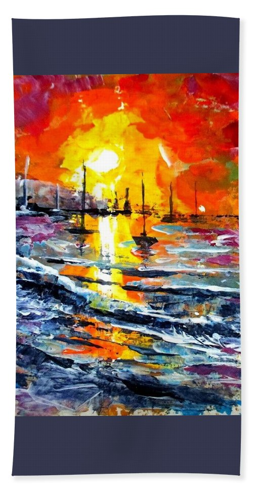 Aceo Beach Towel featuring the painting Sunset aceo painting by Natalja Picugina