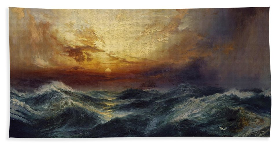 Sunset After A Storm Beach Towel featuring the painting Sunset After A Storm by Thomas Moran