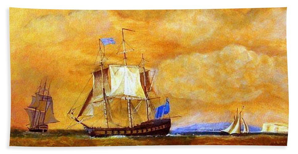 Sunset Beach Towel featuring the painting Sunset And Ships by Richard Le Page