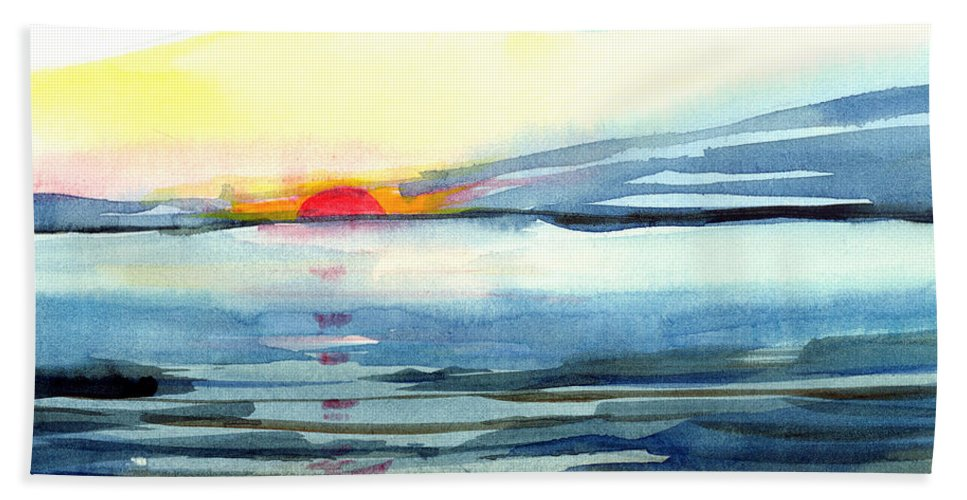 Landscape Seascape Ocean Water Watercolor Sunset Beach Towel featuring the painting Sunset by Anil Nene