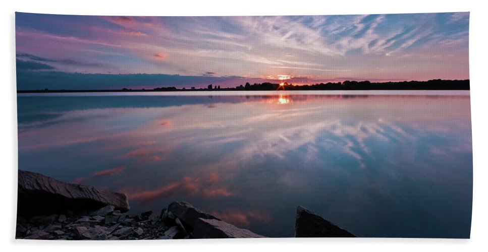 Sunrise Beach Towel featuring the photograph Sunset at Anglezarke Reservoir #1, Rivington, Lancashire, North West England by Anthony Lawlor