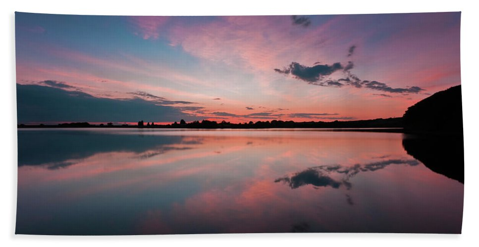 Sunrise Beach Towel featuring the photograph Sunset at Anglezarke Reservoir #4, Rivington, Lancashire, North West England by Anthony Lawlor
