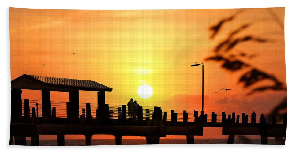 Fort De Soto Beach Sheet featuring the photograph Sunset At Fort De Soto Fishing Pier Pinellas County Park St. Petersburg Florida by Mal Bray