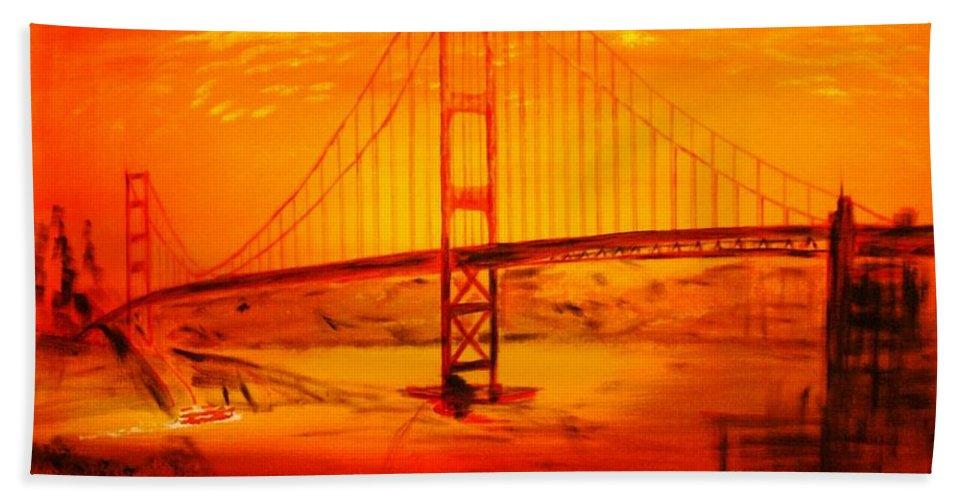 Sunset At Golden Gate Beach Towel featuring the painting Sunset At Golden Gate by Helmut Rottler