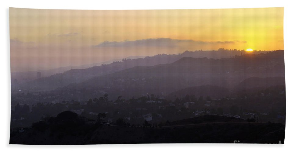 Clay Beach Towel featuring the photograph Sunset At Griffeth Observatory by Clayton Bruster