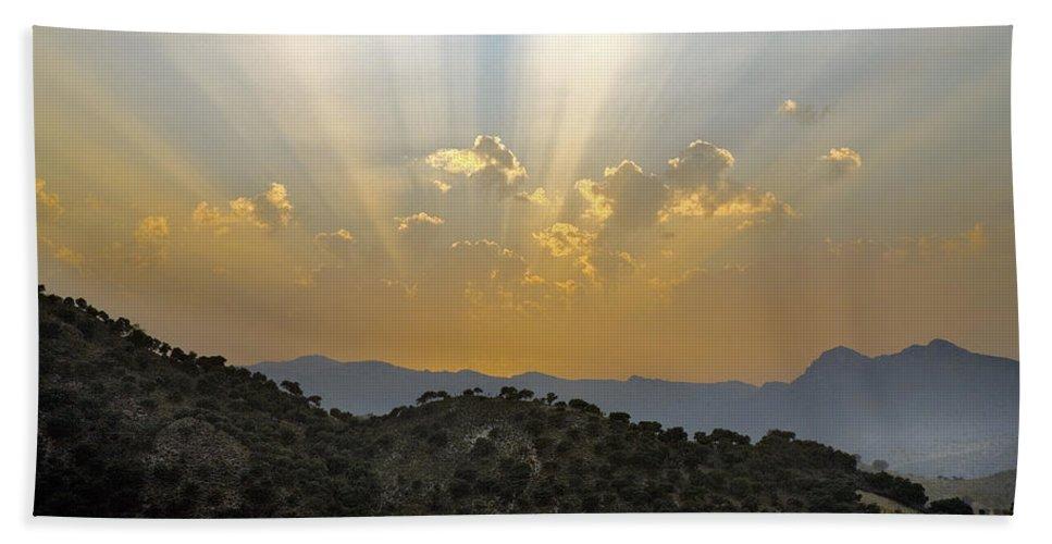 Sunrise Beach Towel featuring the photograph Sunset At Pastelero Near Villanueva De La Concepcion Andalucia Spain by Mal Bray
