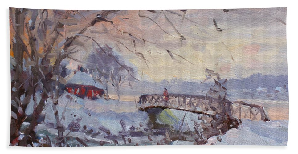 Sunset Beach Towel featuring the painting Sunset At Snow-covered Niawanda Park by Ylli Haruni