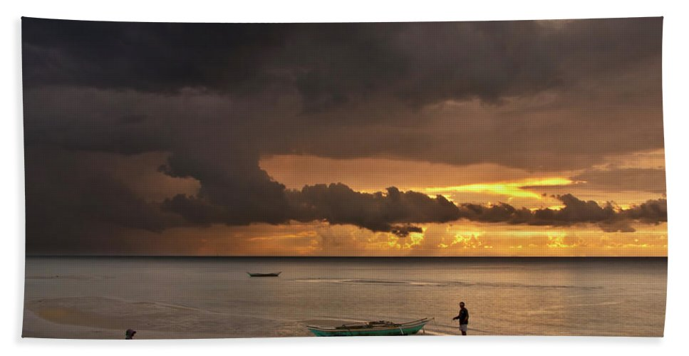 Seascape Beach Towel featuring the photograph Sunset At Tabuena Beach 2 by George Cabig
