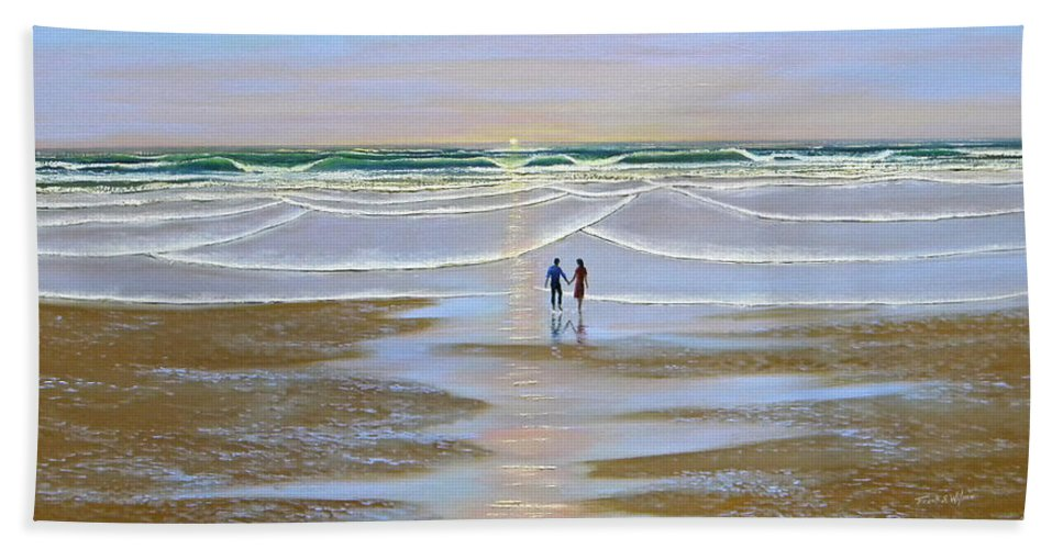 Beach Beach Towel featuring the painting Sunset At The Beach by Frank Wilson