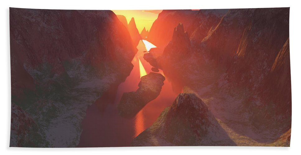 Canyon Beach Sheet featuring the digital art Sunset At The Canyon by Gaspar Avila