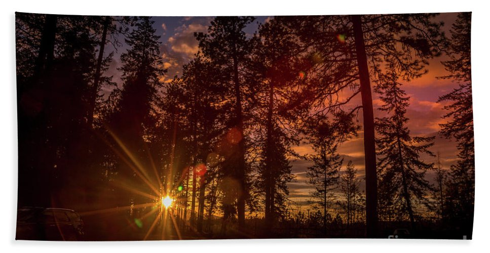 Sunset Beach Towel featuring the photograph Sunset At The End Of The Hike by Matthew Nelson