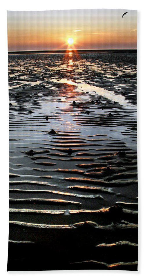 Sunset Beach Towel featuring the photograph Sunset At The West Shore Llandudno by Mal Bray
