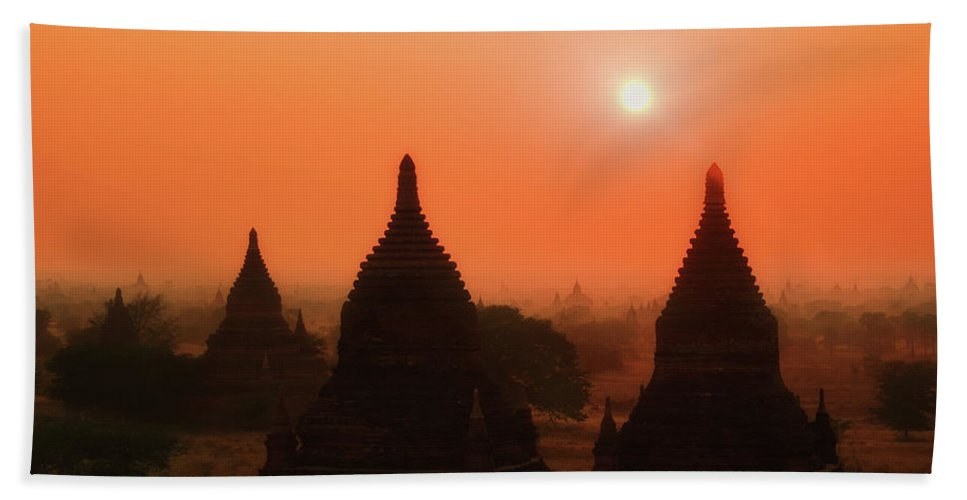 Sunset Beach Towel featuring the photograph Sunset Bagan by Oleg Ver