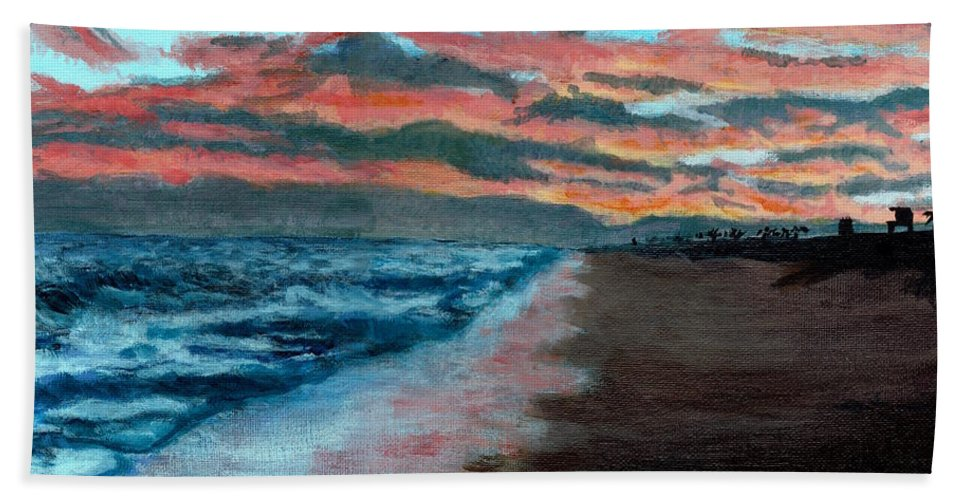 Sunset Painting Beach Towel featuring the painting Sunset Beach by DSC Arts