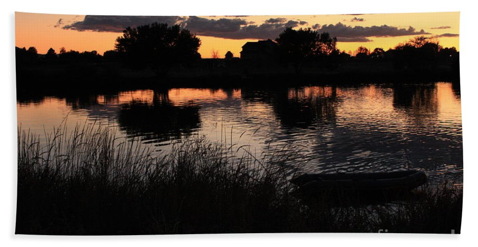 Sunset Beach Towel featuring the photograph Sunset Boat by Carol Groenen
