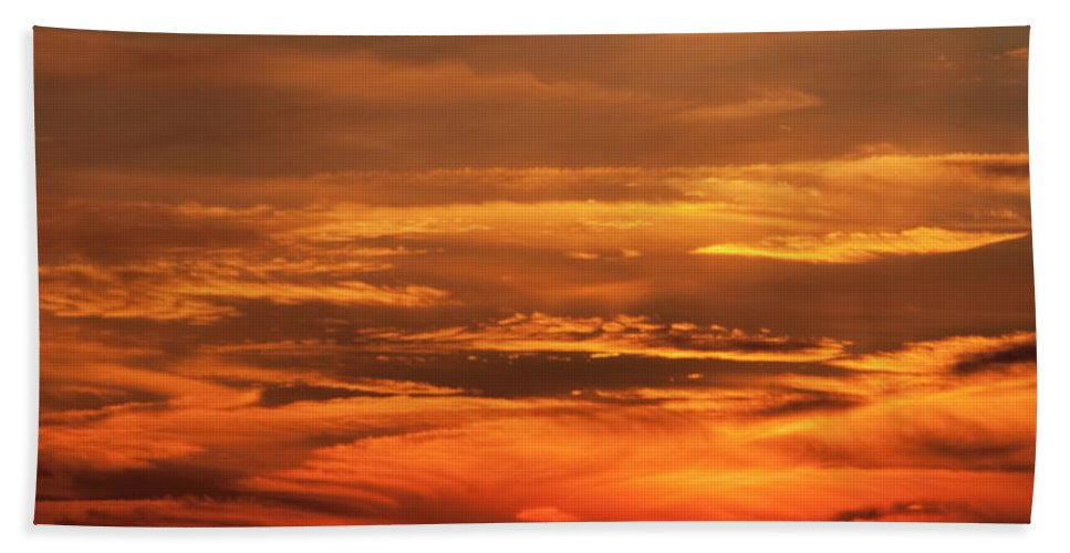 Sunset Beach Towel featuring the photograph Sunset Clouds On Fire by Steven Natanson