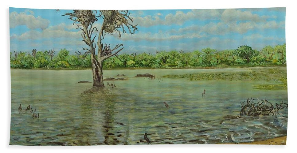 Rivers Beach Towel featuring the painting Sunset Dam Kruger Park by Caroline Street