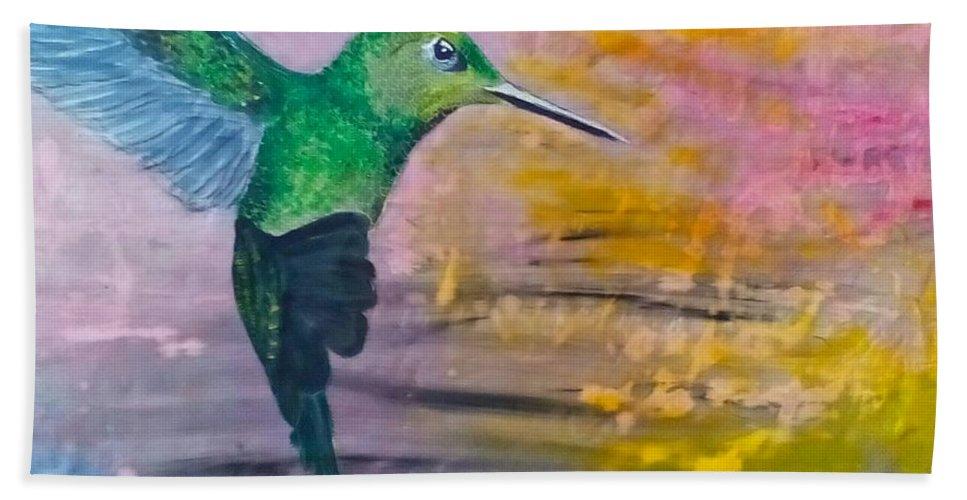 Hummingbird Beach Towel featuring the painting Sunset Dancer by J Bauer