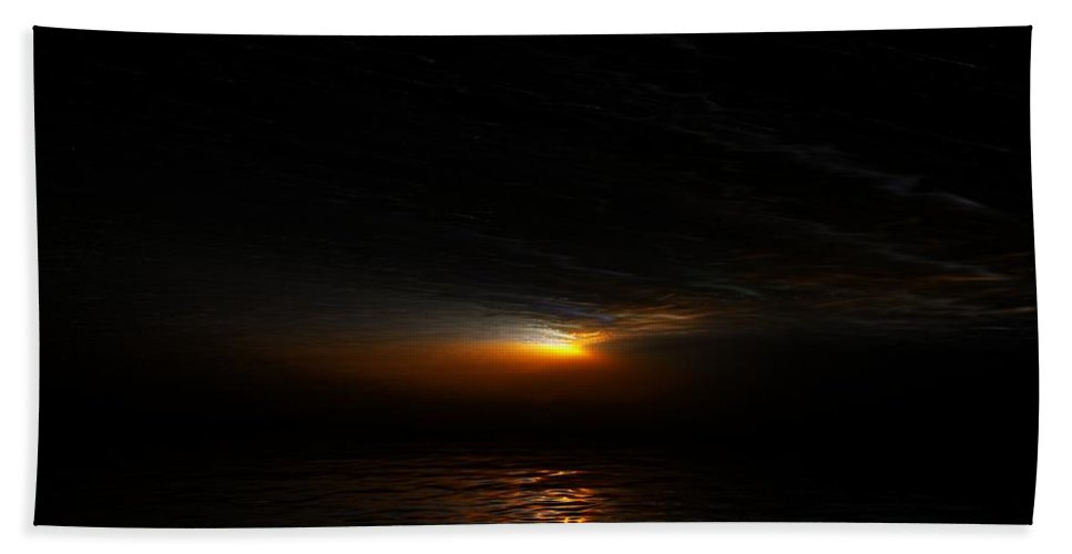 Digital Painting Beach Towel featuring the digital art Sunset by David Lane