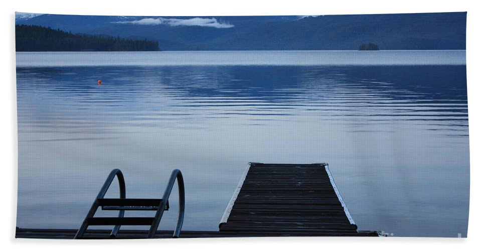 Priest Lake Beach Sheet featuring the photograph Sunset Dock At Priest Lake by Carol Groenen