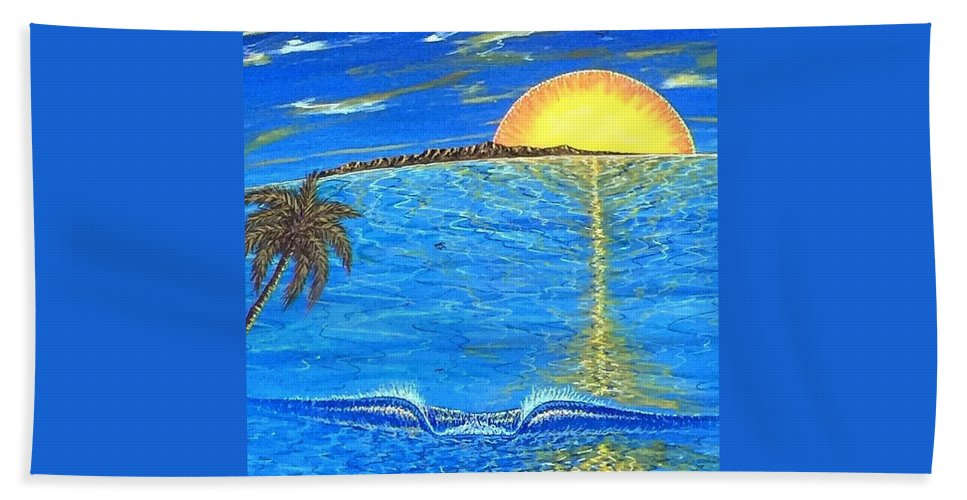 Sunset Dream Beach Towel featuring the painting Sunset Dream by Paul Carter