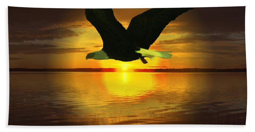 Sunset Eagle Water Lake Birds Of Prey Hunting Flying Skyscape Beach Towel featuring the photograph Sunset Eagle by Andrea Lawrence
