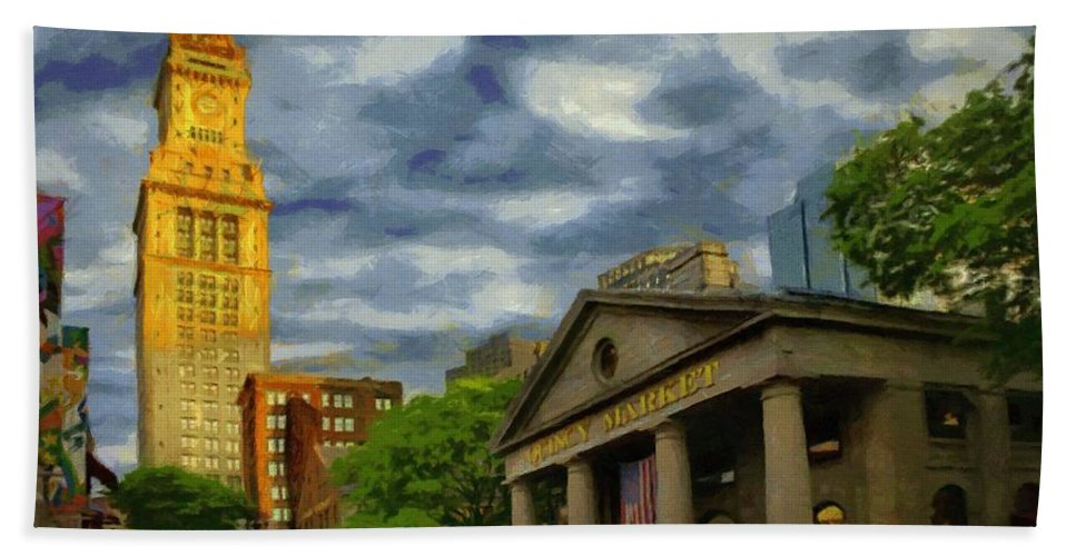 Boston Beach Towel featuring the painting Sunset Gleam Of Custom House Tower by Jeffrey Kolker