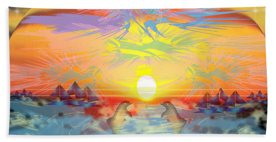 Nature Beach Sheet featuring the digital art Sunset IIi by George Pasini