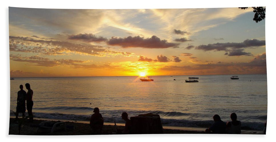 Sunset Beach Towel featuring the photograph Sunset In Barbados by Kayode Fashola