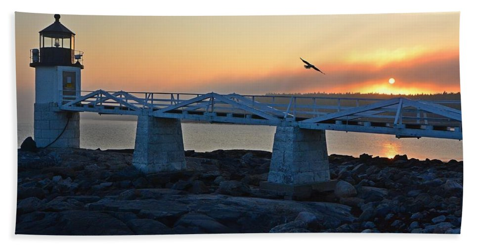 Landscape Beach Towel featuring the photograph Sunset In Maine by Steve Brown