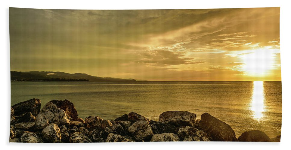Vacation Destination Beach Towel featuring the photograph Sunset In Montego Bay by Debbie Ann Powell