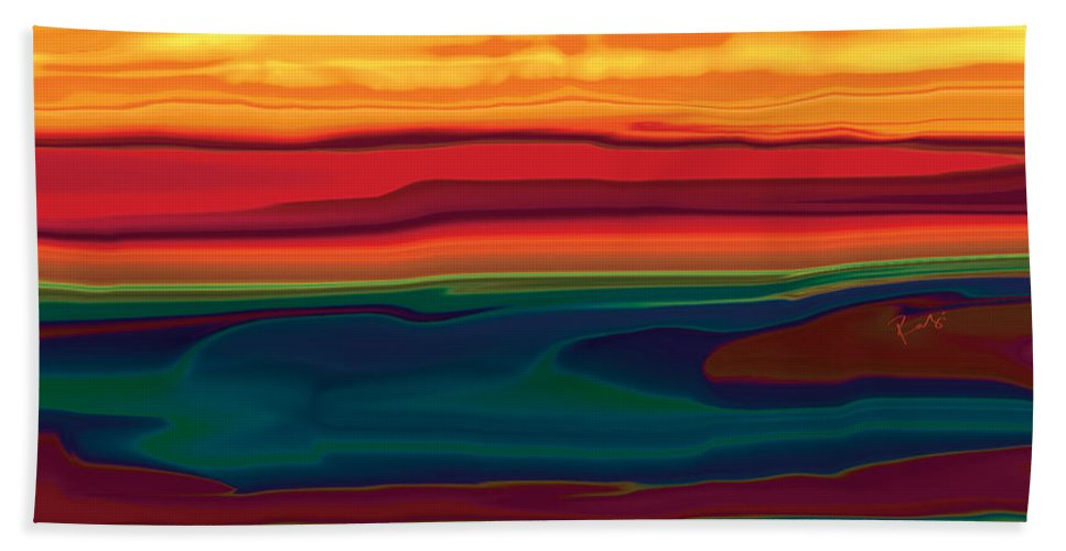 Art Beach Towel featuring the digital art Sunset In Ottawa Valley by Rabi Khan