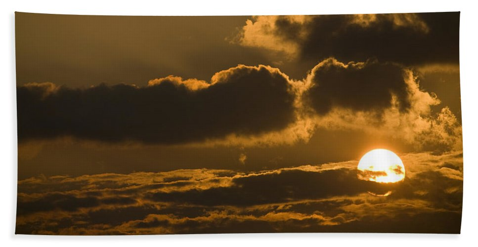 Red Beach Towel featuring the photograph Sunset In The Heavens by Ian Middleton