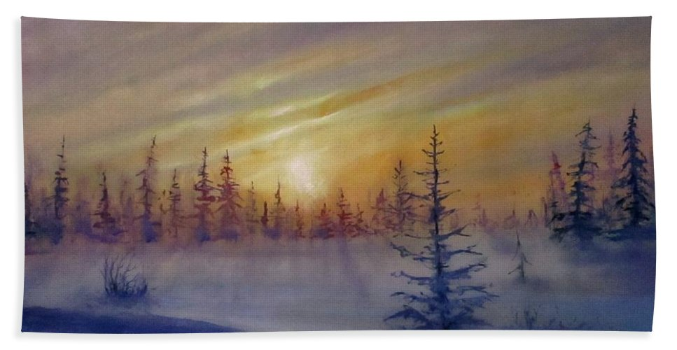 Winter Beach Towel featuring the painting Sunset by Natalja Picugina