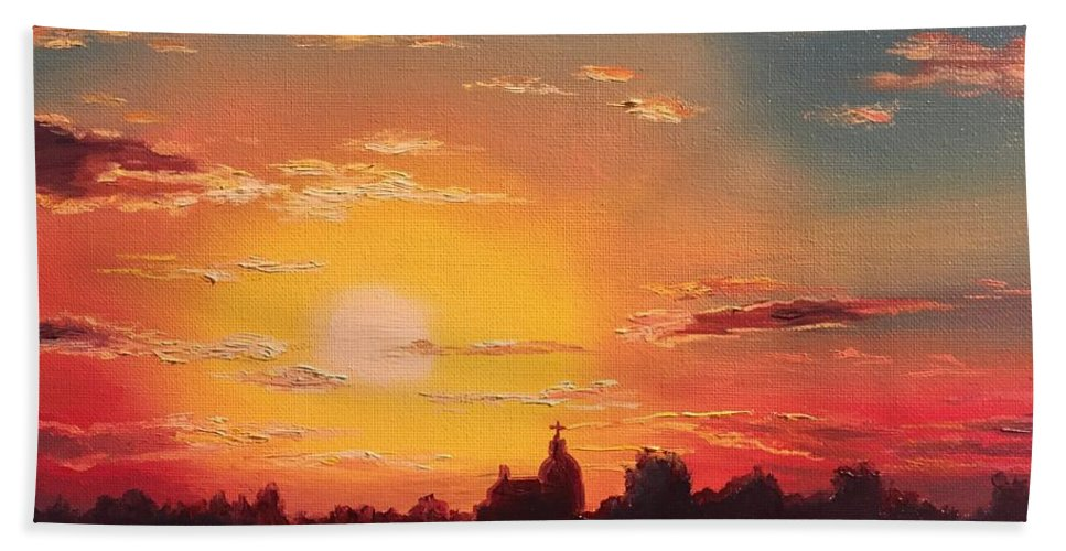 Sun Beach Towel featuring the painting Sunset by Oleg Shvets